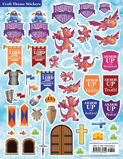 Picture of Vacation Bible School (VBS) 2020 Knights of North Castle Craft Theme Stickers (Pkg of 12)
