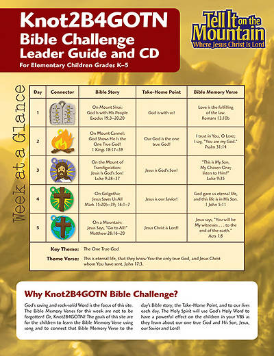 Concordia Vacation Bible School 2013 Tell It On The Mountain Knot 2b4gotn Bible Challenge Leader Guide (with CD)