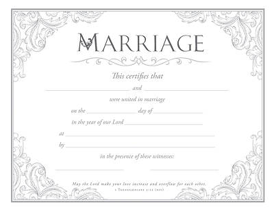 Picture of Marriage Certificate 1 Thess 3:12 (NIV) Pkg of 6