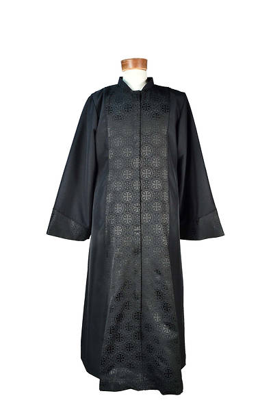 "Picture of Celeste 4 Lin-Weave Robe with Black Royalty Accent and Black Cording Black - 5'3"" to 5'5"" - 41"" to 46"" - 30"""