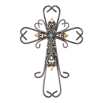 "Double Cross Resin And Metal 12""H"