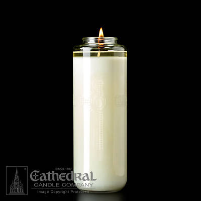 Picture of Cathedral Domus Christi 51% Beeswax 8-Day Glass Bottle Style Sanctuary Light