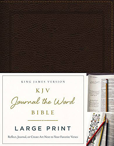 NIV, Journal the Word Bible, Large Print, Genuine Leather, Brown