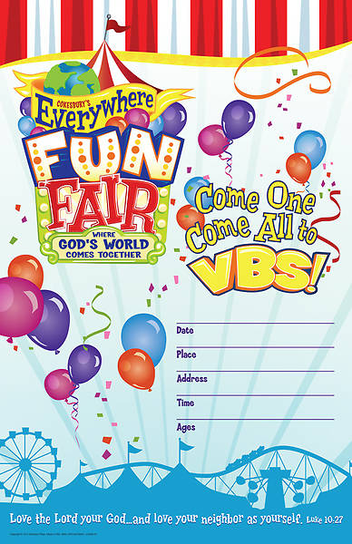 Vacation Bible School 2013 Everywhere Fun Fair Large Promotional Poster VBS
