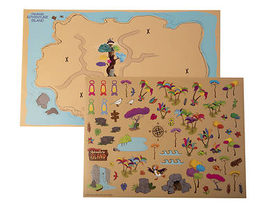 Picture of Vacation Bible School (VBS) 2021 Discovery on Adventure Island Adventure Map with Stickers (Pkg of 12)