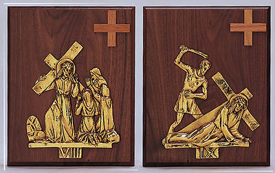 Stations of the Cross Walnut Plaque Bronze Set of 14