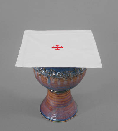 Picture of Cambric Linen Chalice Pall with Red Cross - Pack of 3