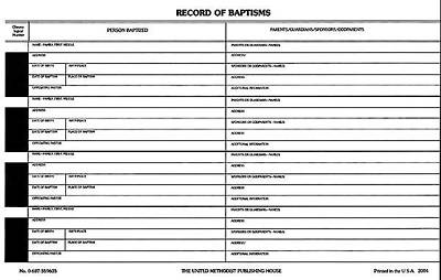 Record of Baptisms (Pkg of 50)