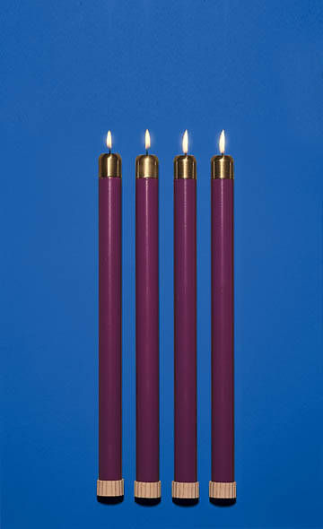Advent Wreath Tube Candle Set - 4 Purple