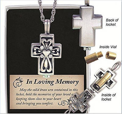 Memorial Cross Pewter Ash Locket