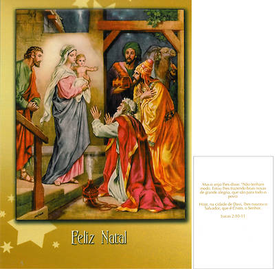 Picture of Feliz Natal Nativity and Wisemen - Pack of 5 Christmas Cards (Portuguese)