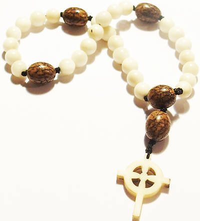 Prayer Beads With Celtic Cross- Natural - Ecuador