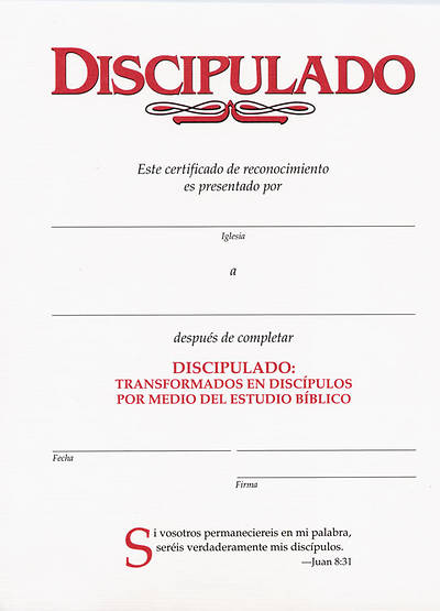 Certificado (Disciple I Spanish Certificate Download)