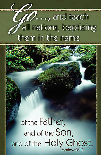 Baptism Bulletin Matthew 28:19, Regular Size Package of 100
