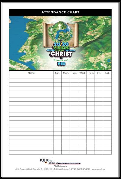 Picture of Vacation Bible School (VBS) 2020 20/20 Vision: Attendance Chart