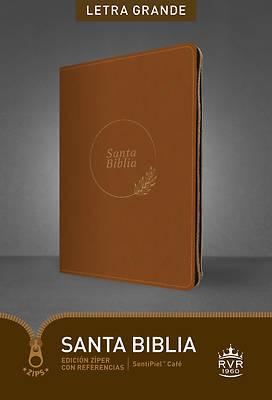 Picture of Santa Biblia Rvr60, Edición Zíper Con Referencias, Letra Grande (Letra Roja, Sentipiel, Café)