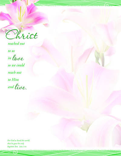 Christ/John 3:16 Easter (Stargazer Lily) Letterhead (Package of 100)