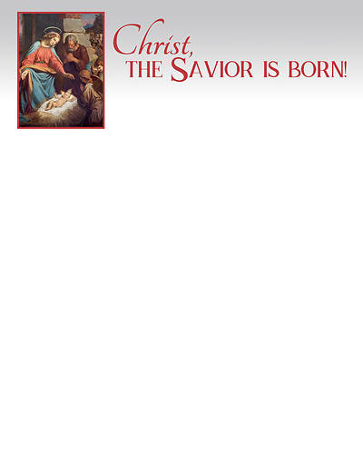 Picture of Christ the Savior is Born Christmas Letterhead