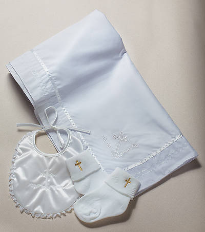 Baptism Gift Set with Bib, Socks, Blanket
