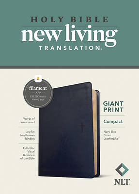 Picture of NLT Compact Giant Print Bible, Filament Enabled Edition (Red Letter, Leatherlike, Navy Blue Cross)