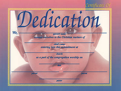 Picture of Certificate Baby Dedication African American Package of 6