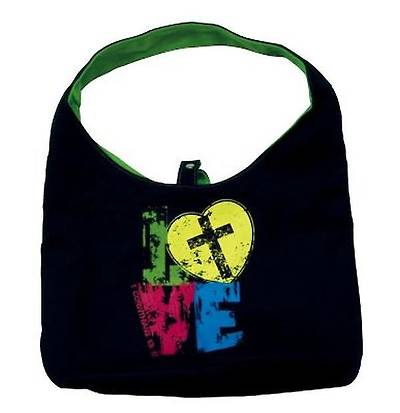 Purse Love Black/Green Canvas Tote Bag
