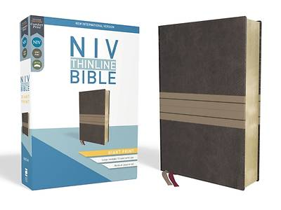 NIV, Thinline Bible, Giant Print, Imitation Leather, Brown/Tan, Red Letter Edition
