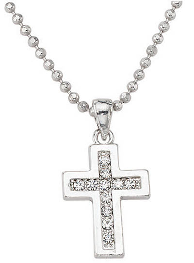 Silver Plated Crystal Cross 18