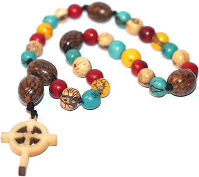 Prayer Beads With Celtic Cross -Multi-Color - Ecuador