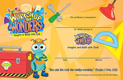 Vacation Bible School (VBS) 2014 Workshop of Wonders Leader Recognition Certificates (Pkg of 10)