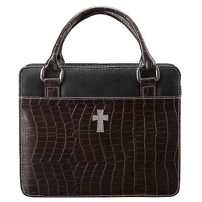 Picture of Purse with Silver Cross Crock Embossed Medium Brown Bible Cover