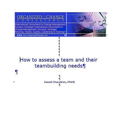 How to Assess a Team and their Teambuilding Needs [Adobe Ebook]