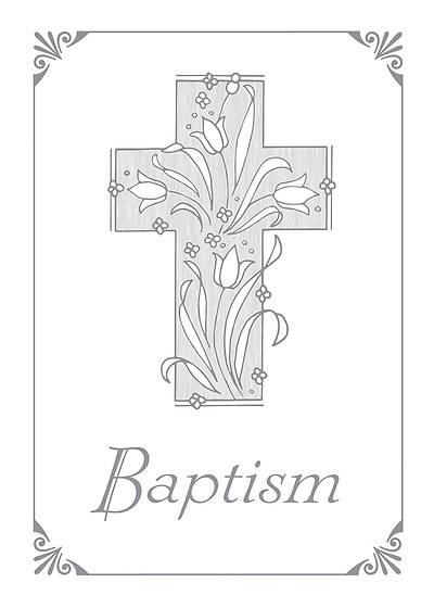 Picture of Baptism Certificate with Silver Cross