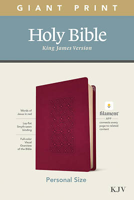 Picture of KJV Personal Size Giant Print Bible, Filament Enabled Edition (Leatherlike, Diamond Frame Cranberry)