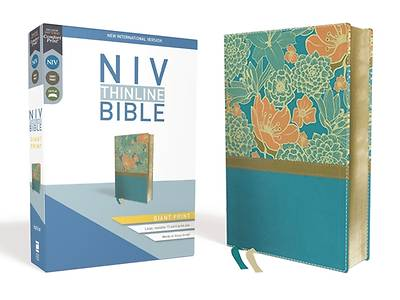 NIV, Thinline Bible, Giant Print, Imitation Leather, Blue, Red Letter Edition