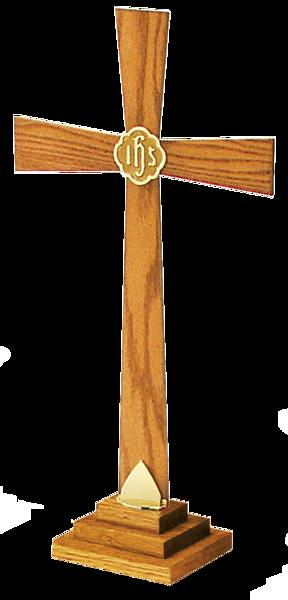 "Picture of Artistic RW 022BRK 24"" Oak and Brass Altar Cross"