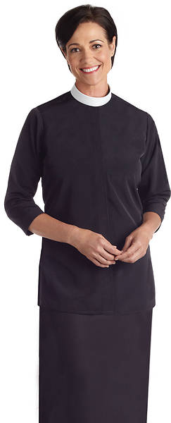 Murphy Qwick Ship SW-113 Womens Tunic Neckband Clergy Blouse Black