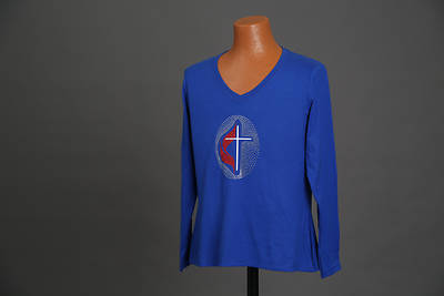 Royal Blue Crew Neck Long Sleeve Starburst Cross and Flame - MED