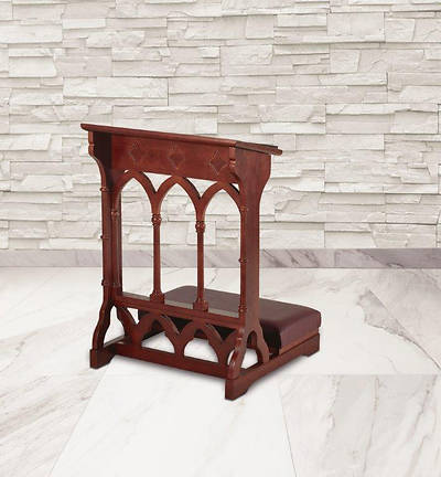 Gothic Collection Padded Kneeler - Walnut Stain