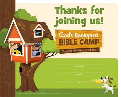Standard Vacation Bible School 2013 Gods Backyard Bible Camp Recognition Certificates (pkg 12)