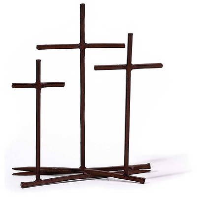 Golgotha Nail Metal Tabletop Cross