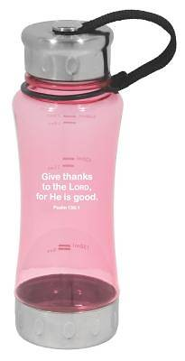 Give Thanks Pink Water Bottle with Stainless Steel Cap