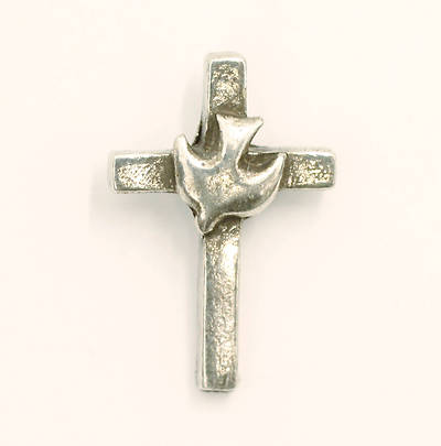 Pewter Lapel Pin - Cross with Dove