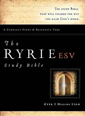 The Ryrie ESV Study Bible Genuine Leather Black- Red Letter Indexed