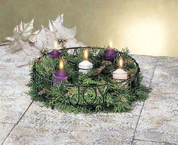 Picture of Love, Peace, Hope, Joy Black Wire Votive Holder Advent Wreath