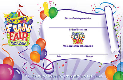 Vacation Bible School 2013 Everywhere Fun Fair Pkg of 10 Leader Recognition Certificate VBS
