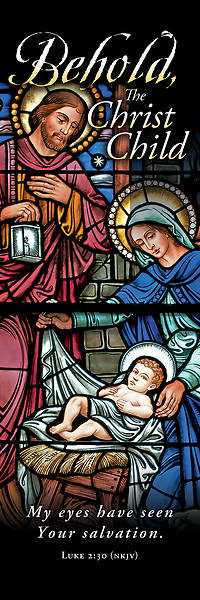 Picture of Behold the Christ Child Christmas 2' X 6' Fabric Banner