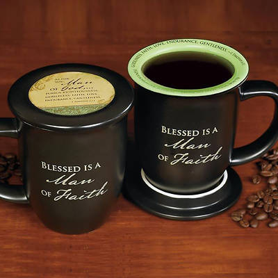 """Blessed is a Man of Faith"" Mug and Coaster Set"