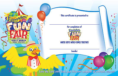 Vacation Bible School 2013 Everywhere Fun Fair Pkg of 50 Student Certificate VBS
