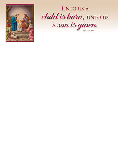 Picture of A Son is Given Letterhead Isaiah 9:6